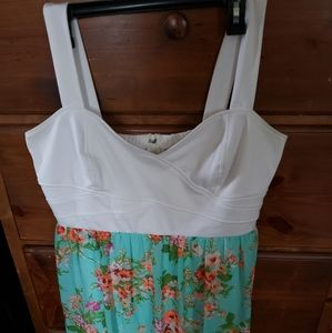 Rue21+ white/green floral dress